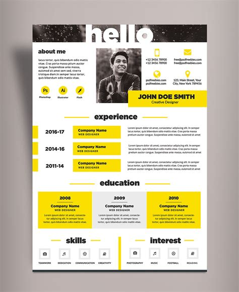Resume Design Templates Psd Free free creative resume cv design template psd file