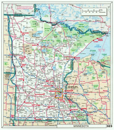minnesota on the map of usa large detailed roads and highways map of minnesota state