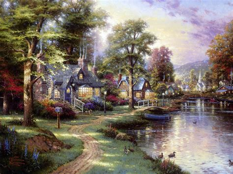 kinkade cottage paintings cottages kinkade amanda s camelot