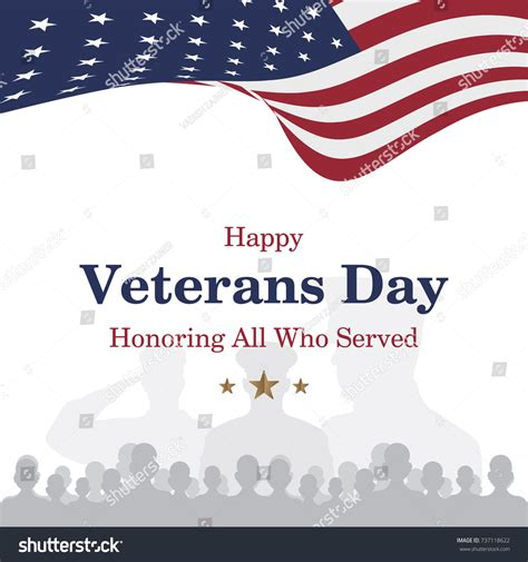happy veterans day to army soldiergreeting card template happy veterans day greeting card usa stock vector