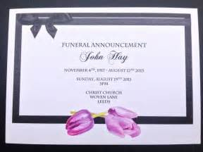 memorial service notice template 25 x personalised funeral announcement invitation cards