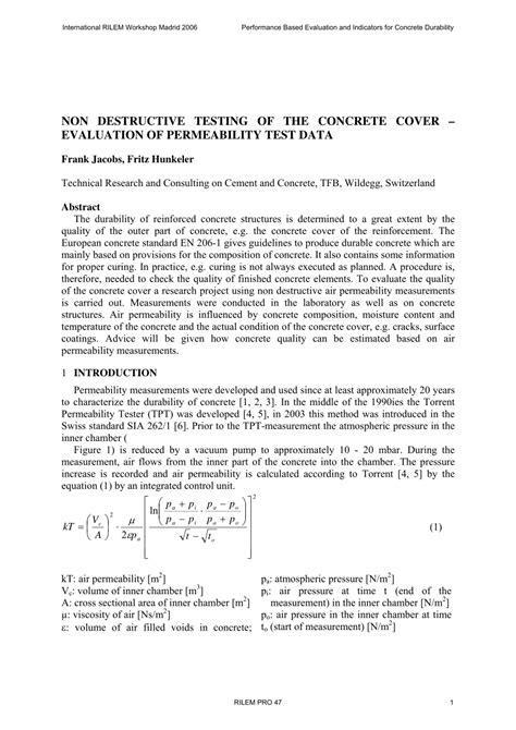 (PDF) NON DESTRUCTIVE TESTING OF THE CONCRETE COVER