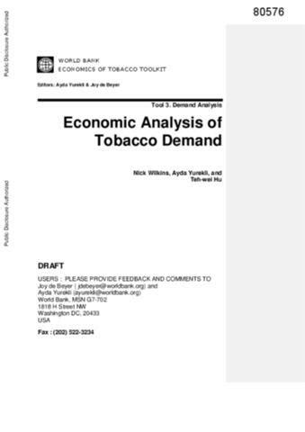 Economics of Tobacco Toolkit, Tool 3 : Economic Analysis