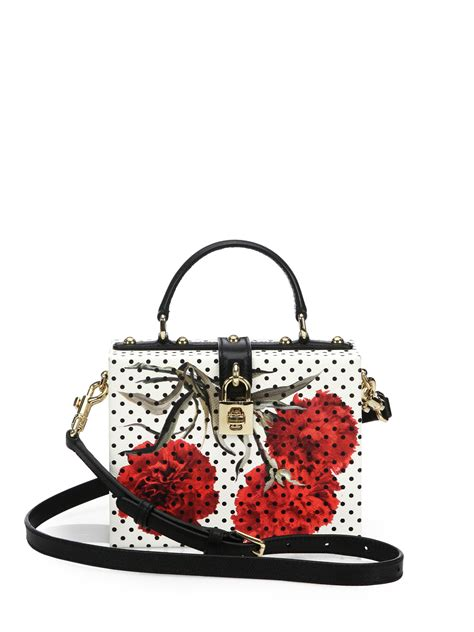 Dolce And Gabbana White Open Leather Bag by Lyst Dolce Gabbana Polka Dot Floral Textured Leather