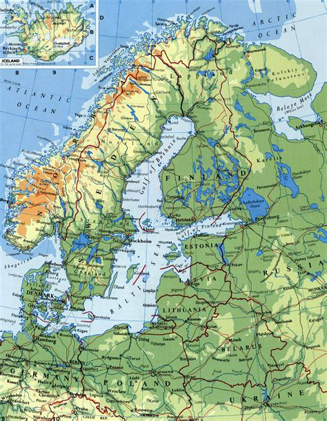 map northern europe scandinavia detailed elevation map of scandinavia vidiani maps