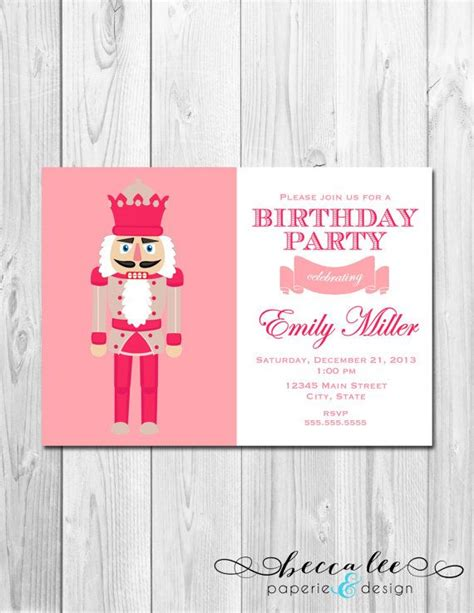 printable nutcracker invitations birthday party invitation pink nutcracker diy by