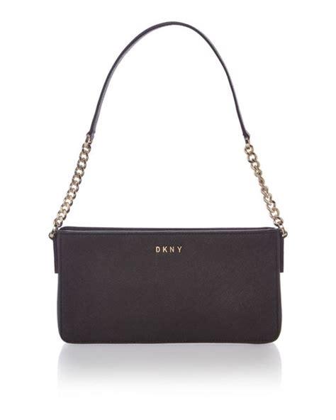 designer bags house of fraser dkny saffiano chain black shoulder bag in black lyst