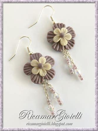 fiori in pasta di mais creazioni ricamar gioielli set fiori lilla crema in pasta di mais