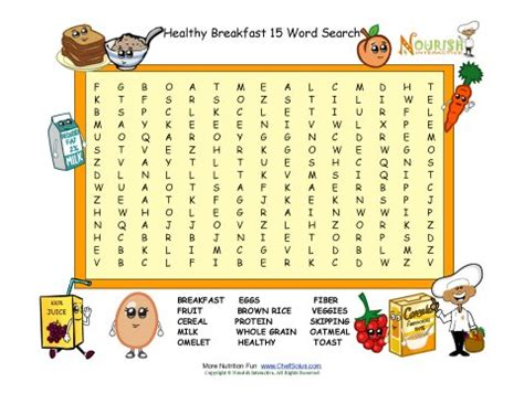 printable word search nutrition breakfast fun 15 word search puzzle for children