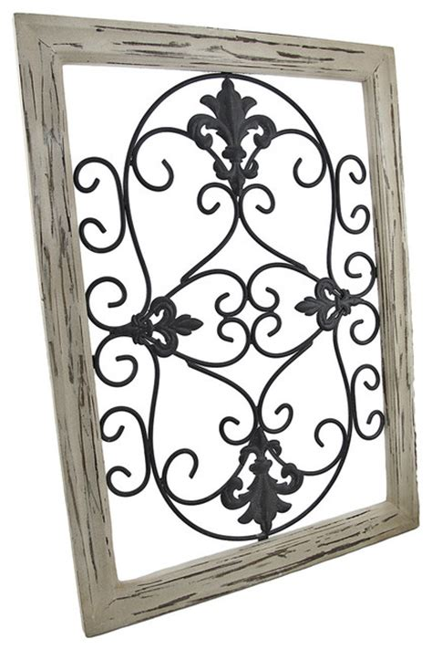 wrought iron and wood wall decor zeckos distressed wooden frame wrought iron fleur de