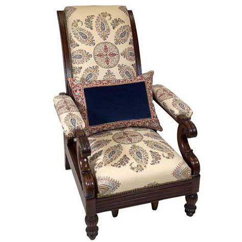 late empire mahogany armchair featuring hand printed blue
