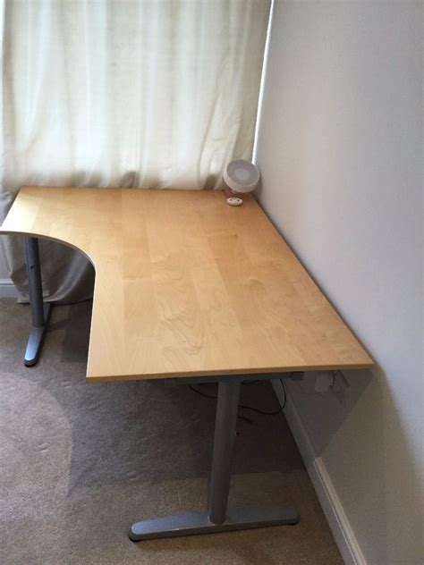 Reduced Birch Galant Ikea Office Corner Desk For Sale Birch Corner Desk