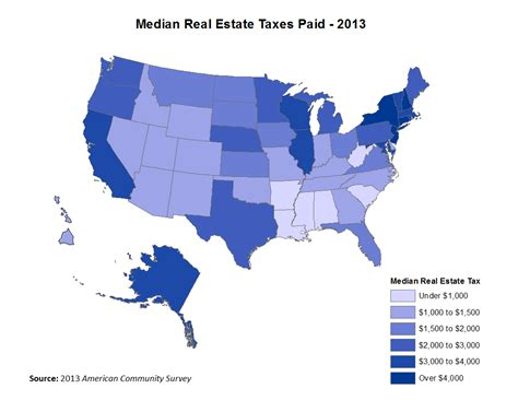 real estate taxes by state 2013 eye on housing