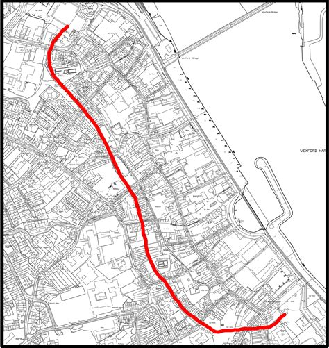 map of wexford town town wall buildings of county wexford