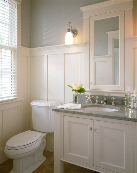 White Wainscot by White Vanity With Grey Granite Top Wainscoting Beige