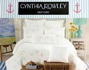 cynthia rowley starfish quilt size white aqua blue