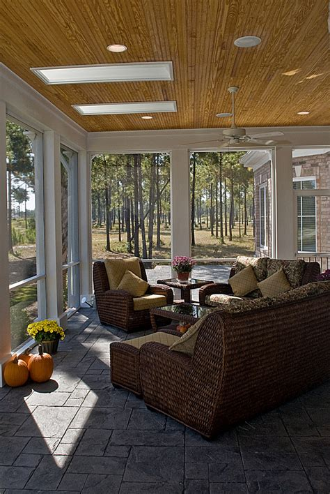 screened in porch furniture deck eclectic with container