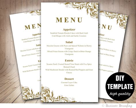 diy wedding menu template antique gold menu template diy wedding menu by