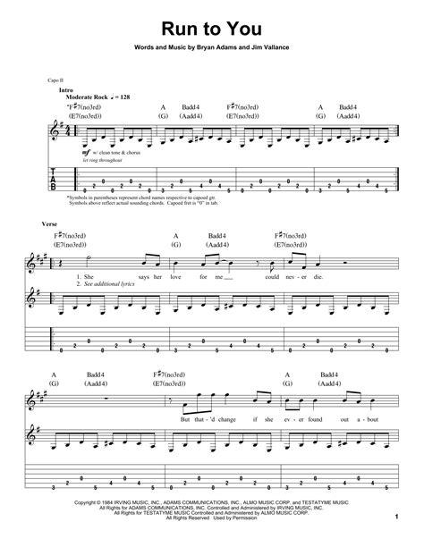 run to you run to you sheet music by bryan adams guitar tab play