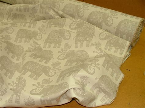 Elephant Upholstery Fabric by Elephant Linen Woven Cotton Jacquard Curtain