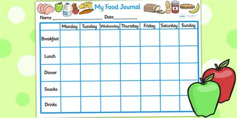 printable food diary for toddlers my healthy eating food journal healthy eating healthy