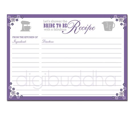 bridal shower recipe cards templates recipe card bridal shower purple floral 5x7 by