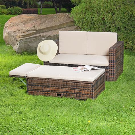 ottomane zweisitzer polyrattan sitzgruppe lounge sessel sofa sitzgarnitur