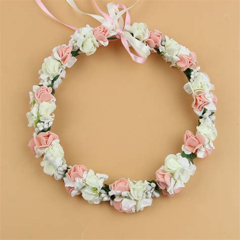 flower wedding wreath white pink wedding flower bridal headpiece floral