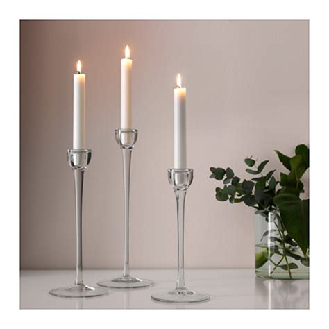 Candlestick Holder Set Blomster Candlestick Set Of 3 Clear Glass Ikea