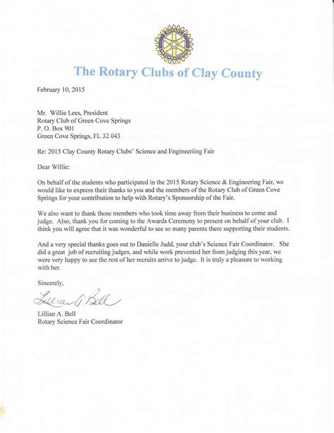 Thank You Letter To Science Science Fair Judging Thank You Letter Rotary Club Of Green Cove Springs