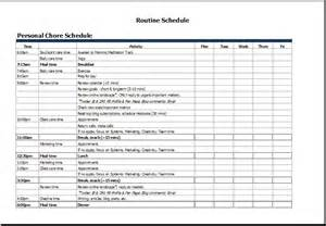 personal calendar template ms excel personal chore schedule template word document