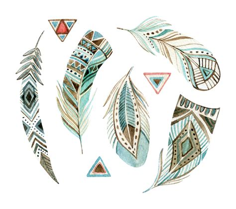 tribal pattern feather aztec tribal feathers watercoloured custom wallpaper