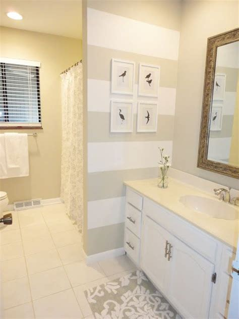 striped bathroom love these horizontal stripes in neutral colors the