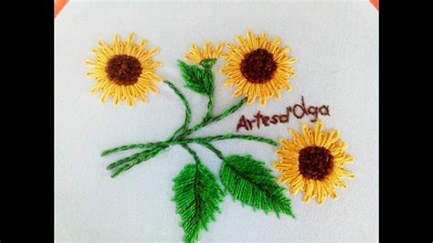 embroidery sunflower sunflower embroidery lazy stitch diy