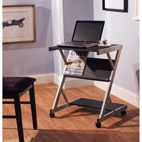 mobile computer cart with shelf black walmart