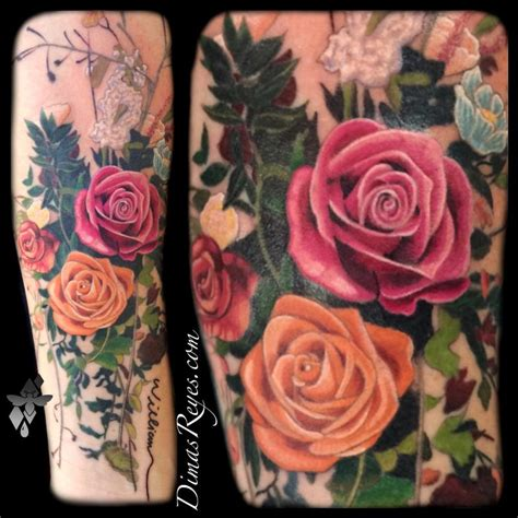 rose bunch tattoo realistic color flower bouquet by dimas reyes tattoos