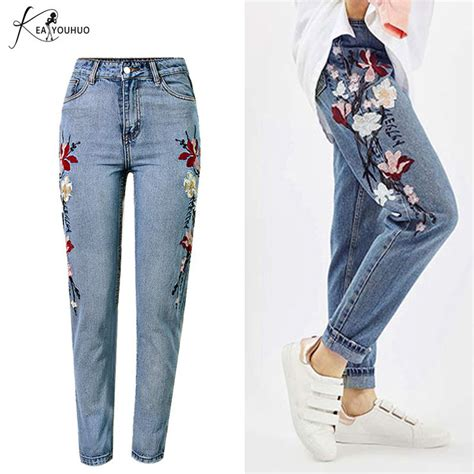 rose pattern jeans embroidered jeans for women elastic flower jeans female