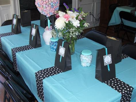Black And Blue Baby Shower by Blue Black And White Tables From Michele S Baby