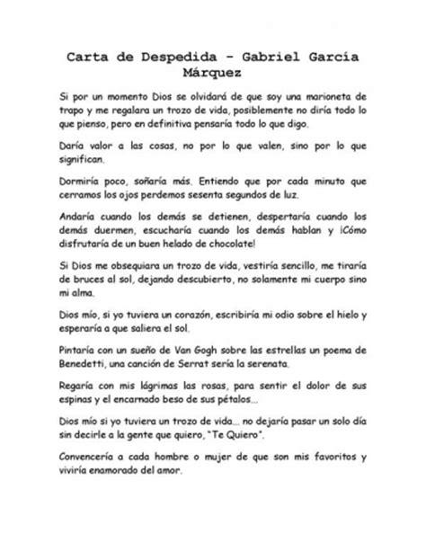 carta de despedida carta de despedida de gabriel garcia marquez holidays oo