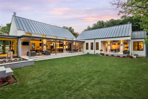 modern farmhouse ranch modern farmhouse exterior farmhouse with back view of