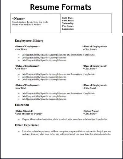 Sample Resume For All Types Of Jobs by Different Types Of Resume Formats That Will Give Your