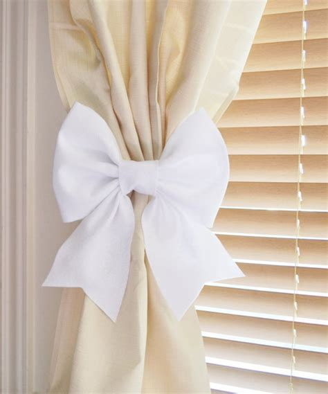 White Bow Curtain Tie Backs Two Decorative Tiebacks Curtain