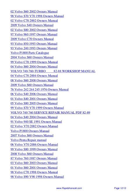 2004 Volvo S60 Owners Manual Pdf 1995 Volvo 960 Service Repair Manual 95