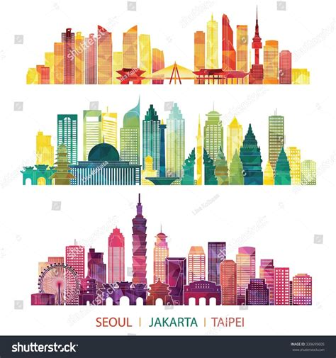 indonesia detailed skyline vector illustration stock skyline detailed silhouette set seoul jakarta stock vector