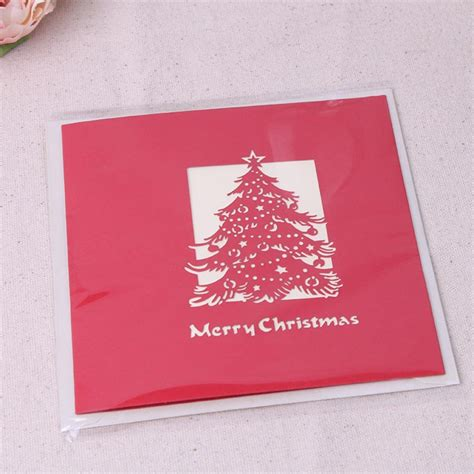 christmas 3d pop up christmas tree paper carving greeting