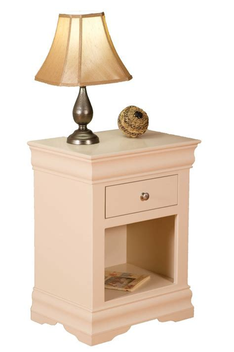 Pink Wooden C Shaped Nightstands For Brown Lamp Shade
