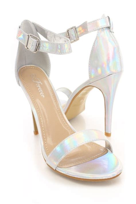 silver iridescent faux leather single sole heels