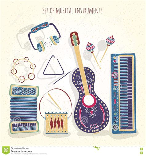 imagenes musicales retro stylish vintage set of musical instruments on a textural