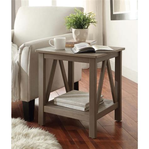 linon home decor titian rustic gray end table 86153gry01u