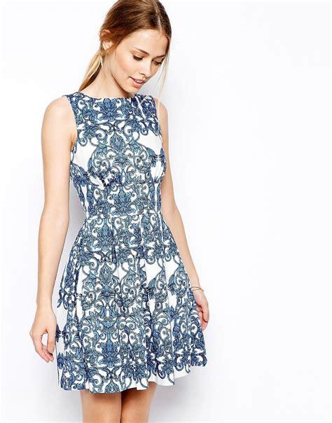 Closet Clothing Dresses by Closet Closet Skater Dress In Baroque Print At Asos